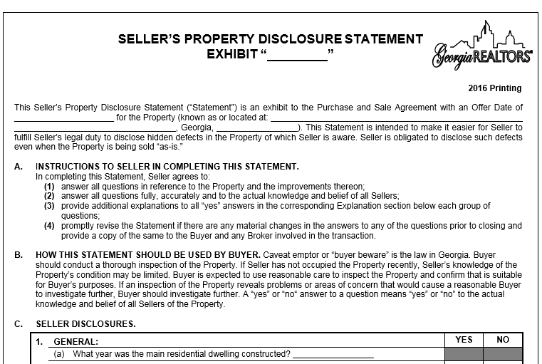 Sellers Property Disclosure Statement - Moving to Athens